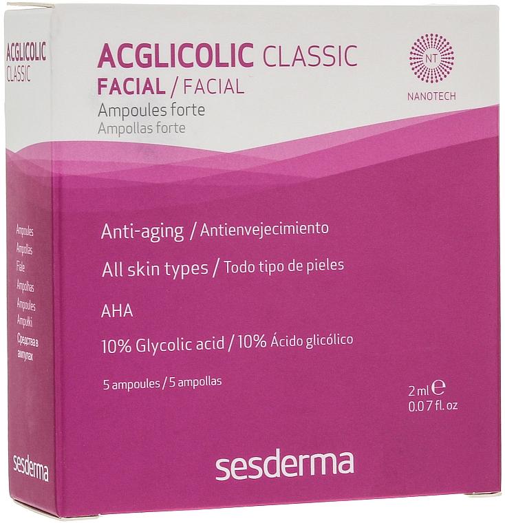 Anti-Aging Gesichtsampullen mit Glykol- und AHA-Säure 5 St. - SesDerma Acglicolic Classic Ampoules Forte