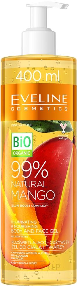 Aufhellendes und nährendes Körper- und Gesichtsgel mit Mangoextrakt - Eveline Cosmetics 99% Natural Mango — Bild 400 ml