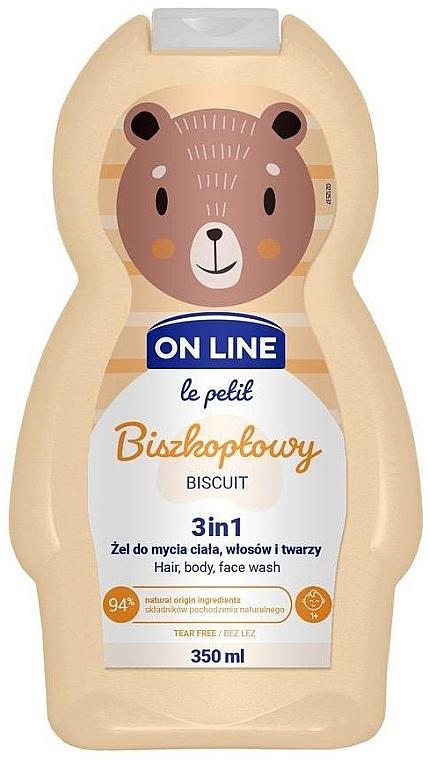 3in1 Duschgel für Körper, Gesicht und Haar mit Keksduft - On Line Le Petit Biscuit 3 In 1 Hair Body Face Wash