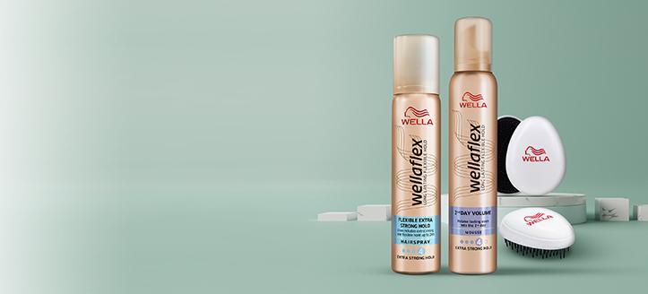 Holen Sie sich eine Haarbürste geschenkt beim Kauf von Wellaflex Haarspray und Haarschaum