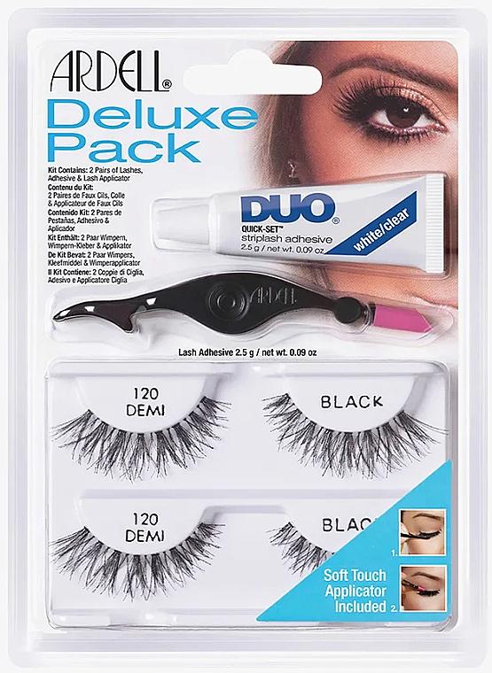 Set Künstliche Wimpern, Wimpernkleber und Applikator - Ardell Deluxe Pack 120 Demi Black