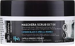 Düfte, Parfümerie und Kosmetik Entgiftende Peelingmaske für fettige Kopfhaut mit Schwarzkohle und weißer Tonerde - Bio Happy Carbon Black & White Clay Scrub Mask