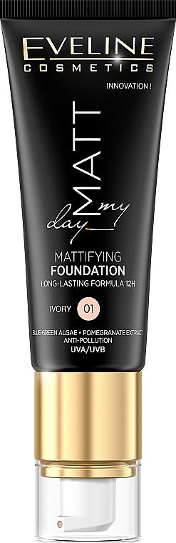 Langanhaltende Foundation mit Algen- und Granatapfelextrakten - Eveline Cosmetics Matt My Day Mattifying Foundation