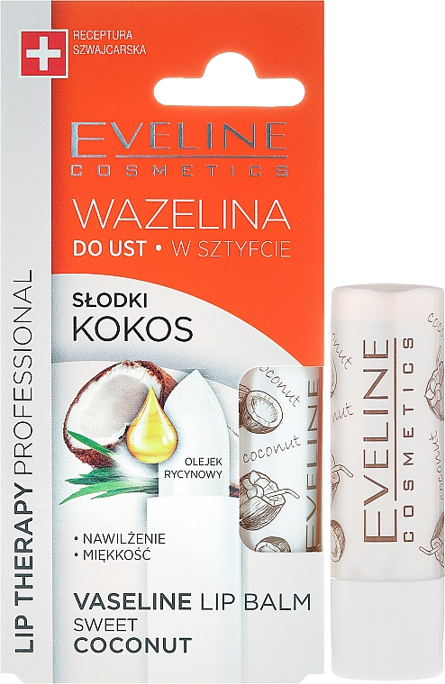 Lippenbalsam - Eveline Cosmetics Vaseline Lip Balm Sweet Coconut