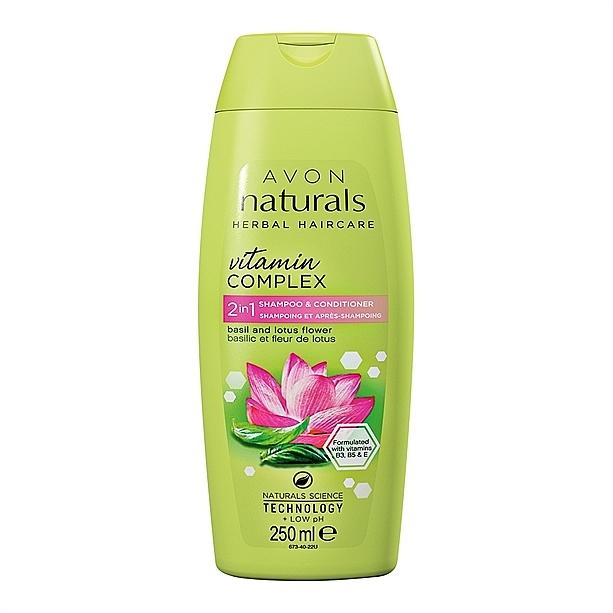 2in1 Shampoo und Conditioner mit Basilikum und Lotusblume - Avon Naturals Hair Care Shampoo — Bild N1