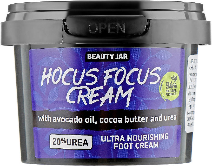 Extra pflegende Fußcreme mit Avocadoöl, Kakaobutter und Harnstoff - Beauty Jar Hocus Focus Cream Ultra Nourishing Foot Cream