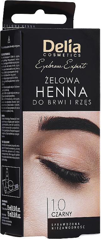 Henna für Augenbrauen und Wimpern schwarz - Delia Eyebrow Tint Gel ProColor 1.0 Black