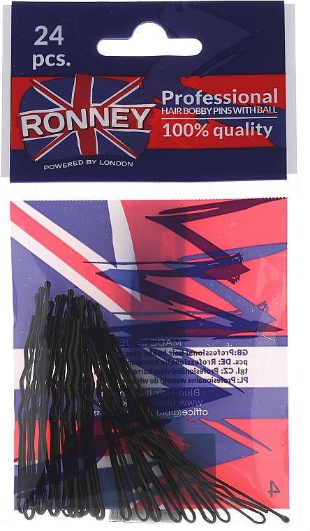 Haarklammern schwarz 60 mm, 24 St. - Ronney Black Hair Bobby Pins