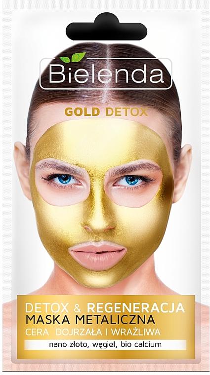 Detox Gesichtsmaske für reife und empfindliche Haut - Bielenda Gold Detox Metallic Mask — Bild N1