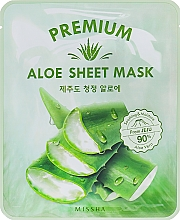 Düfte, Parfümerie und Kosmetik Feuchtigkeitsspendende erfrischende und beruhigende Tuchmaske für das Gesicht mit Aloeextrakt - Missha Premium Aloe Sheet Mask