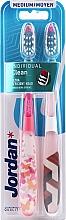 Düfte, Parfümerie und Kosmetik Zahnbürste mittel weiß, rosa mit Schmetterling 2 St. - Jordan Individual Clean Medium