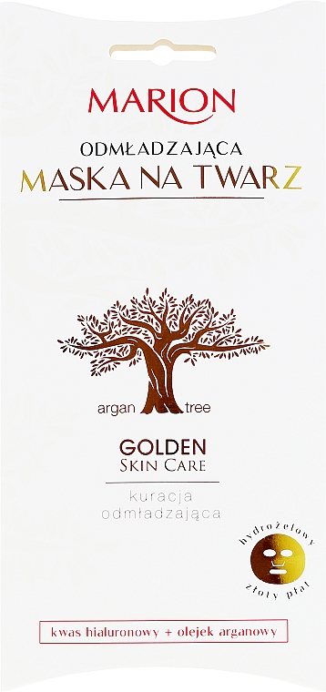 Verjüngende Tuchmaske mit Arganöl und Hyaluronsäure - Marion Golden Skin Care Rejuvenating Face Mask