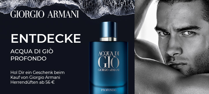 Beim Kauf von Giorgio Armani Herrendüften ab 56 € erhältst Du Acqua di Giò Profondo geschenkt