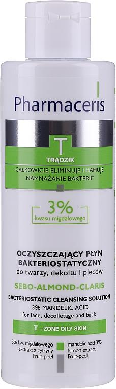 Reinigungswasser für Gesicht, Dekolleté und Rücken mit 3% Mandelsäure - Pharmaceris T Sebo-Almond-Claris Bacteriostatic Cleansing Solution