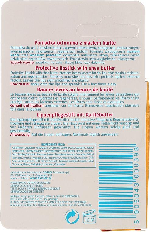 Schützender Lippenbalsam mit Sheabutter - Floslek Lip Care Protective Lipstick With Shea Butter — Bild N2