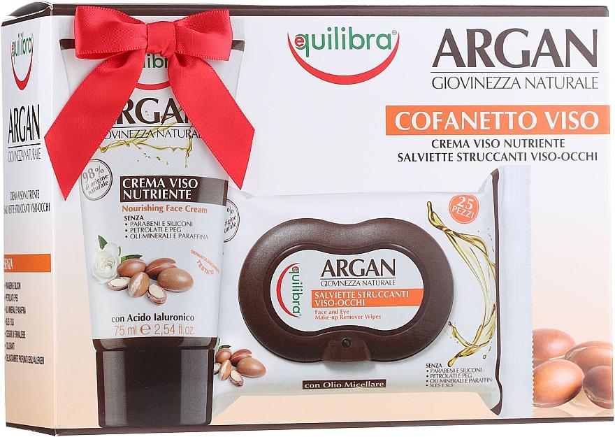 Gesichtspflegeset - Equilibra Argan (Gesichtscreme 75ml + Make-up-Entferner-Tücher 25 St.)