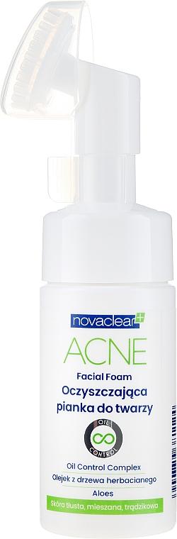 Gesichtsreinigungsschaum mit Teebaumöl und Aloe Vera für fettige, zu Akne neigenede und Mischhaut - Novaclear Acne Facial Foam