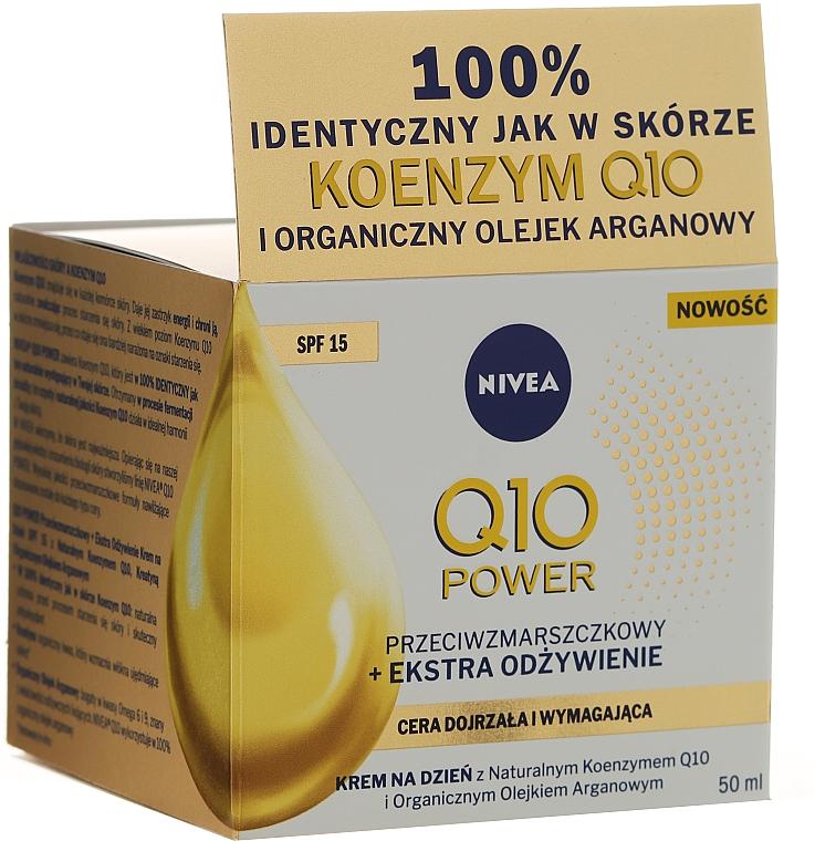 Anti-Falten Tagescreme für trockene bis sehr trockene Haut SPF 15 - Nivea Visage Q10 Power Extra SPF 15