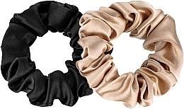 Düfte, Parfümerie und Kosmetik Scrunchie-Haargummi aus Naturseide Midi 2 St. - Makeup Scrunchie Set Black Gold
