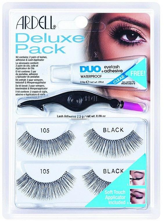 Set Künstliche Wimpern und Wimpernkleber - Ardell Eyelash 105 Deluxe Kit Black