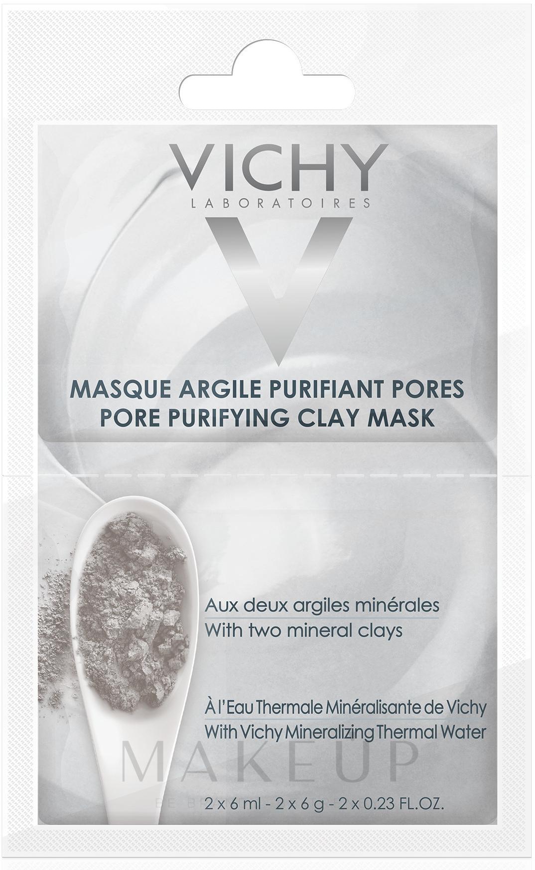 Gesichtsmaske zur tiefen Porenreinigung mit Tonerden und Thermalwasser - Vichy Mineral Pore Purifying Clay Mask Review — Bild 2x6 ml