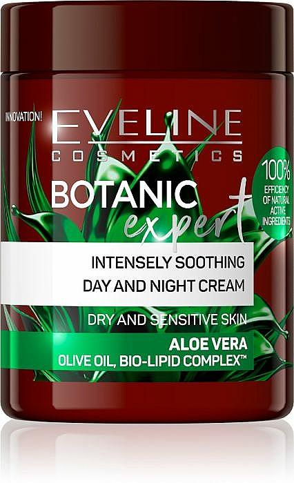 Intensiv beruhigende Tages- und Nachtcreme für trockene und empfindliche Haut mit Aloe vera - Eveline Cosmetics Botanic Expert Aloe Vera Day & Night Cream