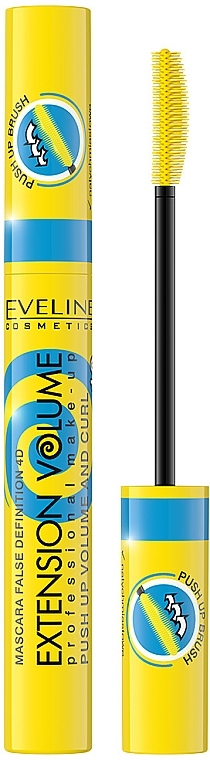 4D Mascara für geschwungene und voluminöse Wimpern - Eveline Cosmetics False Definition 4D Extension Volume Push Up Volume And Curl Mascara