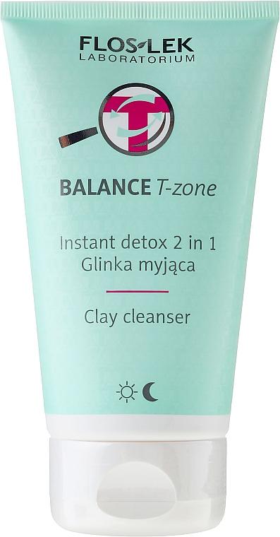 2in1 Klärendes Gesichtspeeling mit Tonerde - Floslek Balance T-zone Instant Detox 2in1 Clay Cleanser