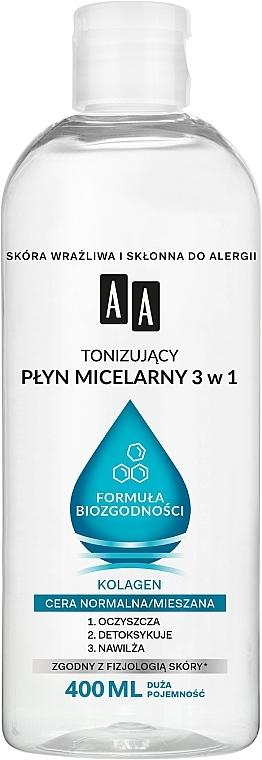 3in1 Tonisierendes Mizellen-Reinigungswasser mit Kollagen für normale und Mischhaut - AA Biocompatibility Formula