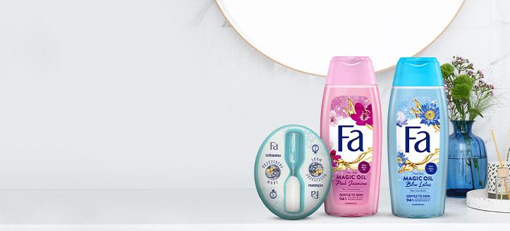 Beim Kauf von Fa-Aktionsprodukten ab 5 € erhalten Sie eine Sanduhr zum Duschen geschenkt