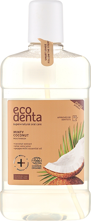 Mundwasser mit Kokosnuss, Aloe Vera und Pfefferminzöl - Ecodenta Cosmos Organic Minty Coconut