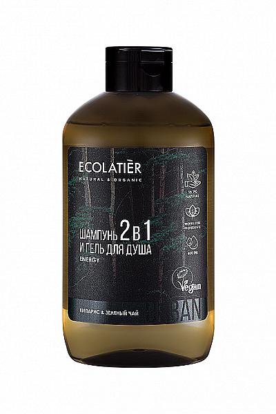 Energiespendendes 2in1 Shampoo und Duschgel für Männer mit Zypresse und weißem Tee - Ecolatier Urban Energy