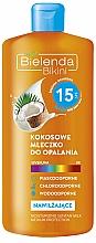 Sonnenschutzmilch mit Kokos SPF 15 - Bielenda Bikini Moisturizing Suntan Milk Medium Protection — Bild N1
