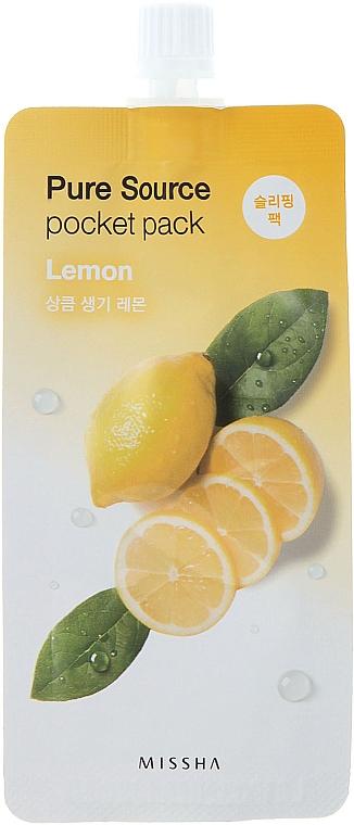 Gesichtsmaske mit Zitronenextrakt - Missha Pure Source Pocket Pack Lemon