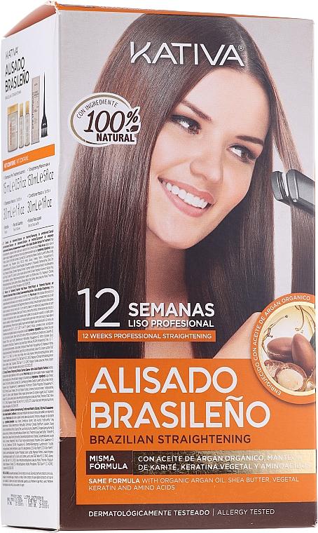 Haarpflegeset mit Keratin - Kativa Alisado Brasileno Con Glyoxylic & Keratina Vegetal Kit (Pre-Behandlung Shampoo 15ml + Behandlung zur Haarglättung 150ml + Shampoo 30ml + Conditioner 30ml + Pinsel 1St. + Handschuhe)