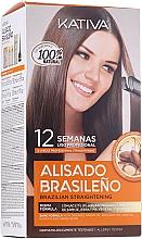 Haarpflegeset mit Keratin - Kativa Alisado Brasileno Con Glyoxylic & Keratina Vegetal Kit (Pre-Behandlung Shampoo 15ml + Behandlung zur Haarglättung 150ml + Shampoo 30ml + Conditioner 30ml + Pinsel 1St. + Handschuhe) — Bild N1