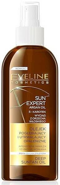Bräunungsöl mit Argan - Eveline Cosmetics Sun Expert Argan Oil Deep Suntan Oil