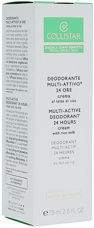 Deo-Creme mit Reismilch ohne Alkohol - Collistar Multi-Active Deodorant 24 Hours Cream