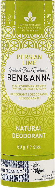 Natürlicher Soda Deostick Persian Lime - Ben & Anna Natural Soda Deodorant Paper Tube Persian Lime