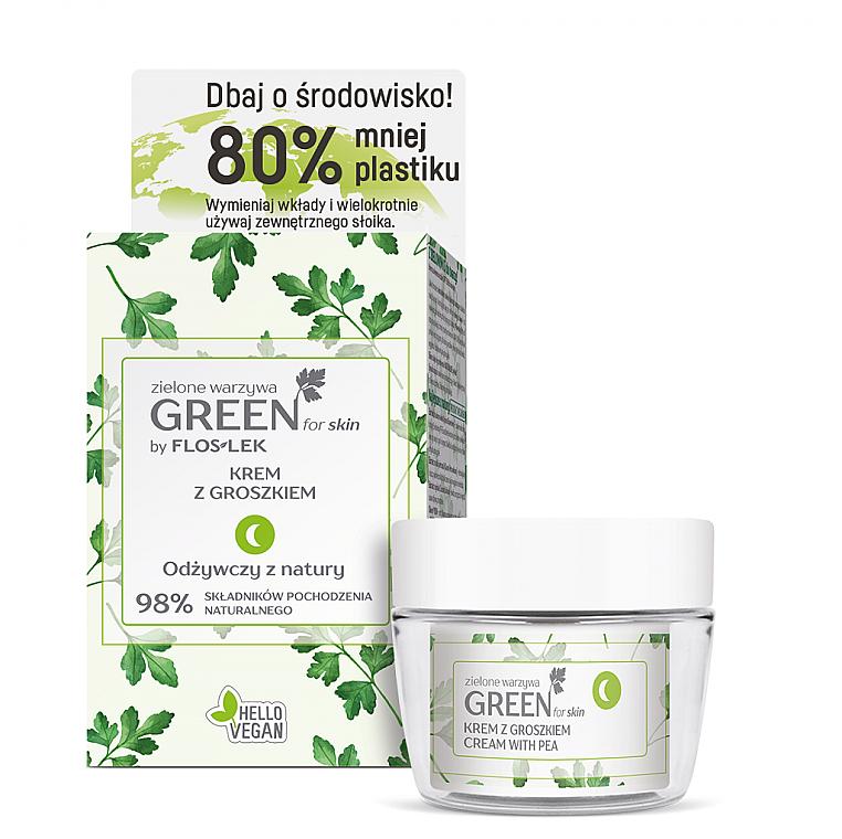 Gesichtspflegeset - Floslek Green For Skin (Gesichts-, Hals- und Dekolletécreme für die Nacht 50ml + Kosmetikglas)