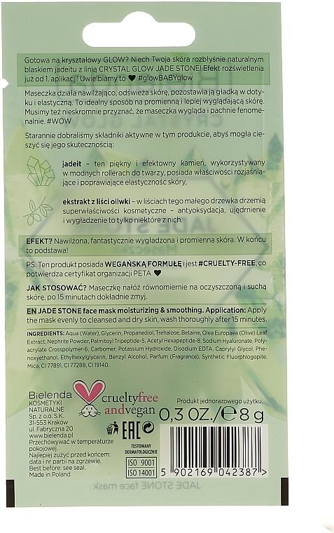 Feuchtigkeitsspendende und glättende Gesichtsmaske mit Jadeit und Olivenblattextrakt - Bielenda Crystal Glow Jade Stone Face Mask — Bild N2