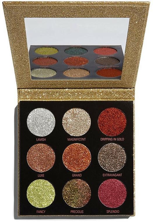 Lidschattenpalette mit Glitzer - Makeup Revolution Pressed Glitter Palette Midas Touch