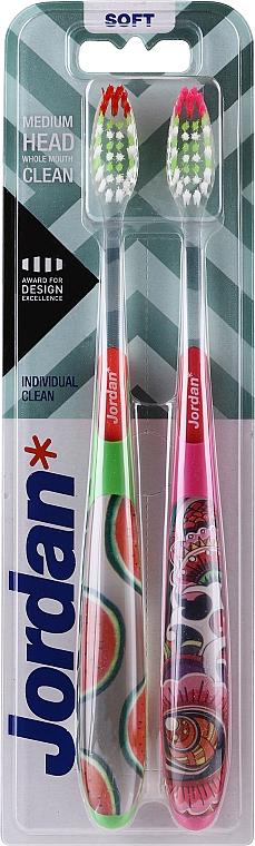 Zahnbürste weich Individual Clean grün mit Wassermelonen, rosa mit einem Muster 2 St. - Jordan Individual Clean Soft