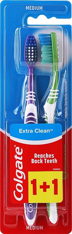 Zahnbürste mittel Extra Clean violett und grün 2 St. - Colgate Extra Clean Medium