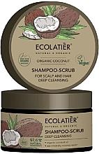 Düfte, Parfümerie und Kosmetik Reinigendes Haar-und Kopfhaut-Peelingshampoo mit Bio-Kokosnussöl, Meeresmineralien und Kokosnusswasser - Ecolatier Organic Coconut Shampoo-Scrub