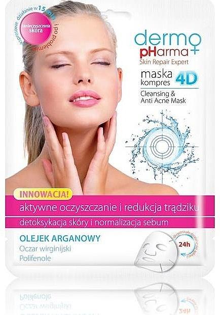 Reinigende Tuchmaske gegen Akne mit Arganöl - Dermo Pharma Skin Repair Expert Cleansing Anti Acne Mask 4D