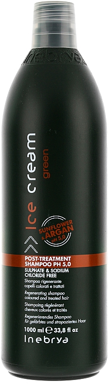 Regenerierendes Shampoo für gefärbtes und strapaziertes Haar - Inebrya Green Post-Treatment Shampoo