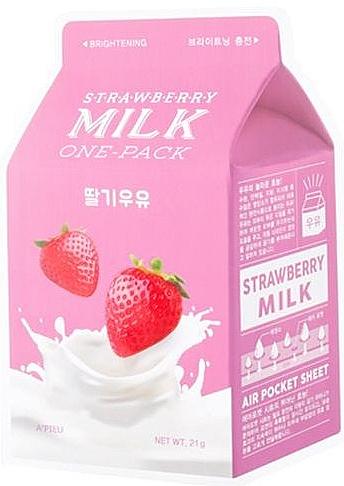 Aufhellende Tuchmaske für das Gesicht mit Erdbeeren und Milch - A'Pieu Milk One-Pack Brightening Strawberry