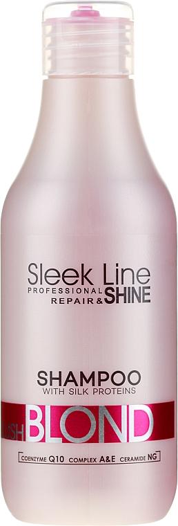 Shampoo für rosa Farbtöne für blondes, aufgehelltes und graues Haar - Stapiz Sleek Line Blush Blond Shampoo