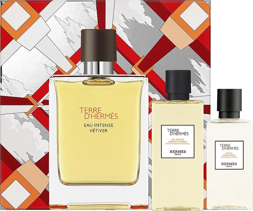Hermes Terre d'Hermes Eau Intense Vetiver Set - Duftset (Eau de Parfum 100ml + After Shave Lotion 40ml + Duschgel 80ml)